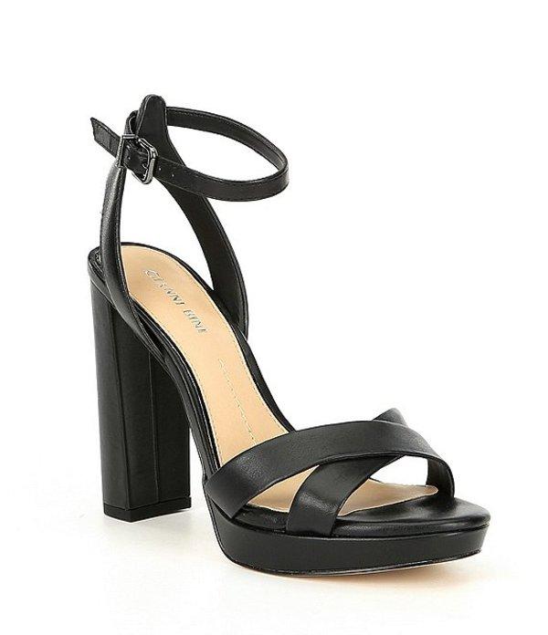 ジャンビニ レディース サンダル シューズ Veeniz Leather Block Heel Dress Sandals Black