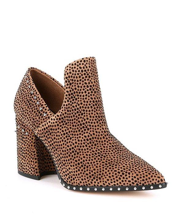 ジャンビニ レディース ブーツ・レインブーツ シューズ Daveigh Cheetah Print Suede Studded Western Block Heel Booties Leopard