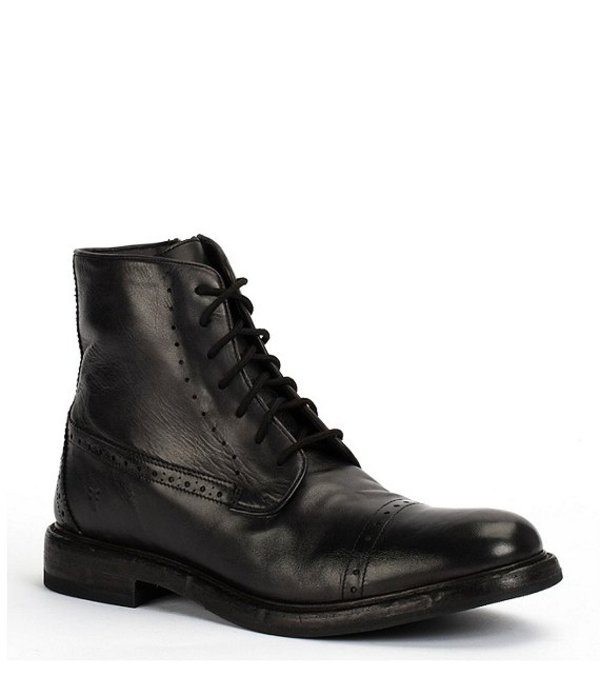 フライ メンズ ブーツ・レインブーツ シューズ Men's Murray Laser Perforated Leather Lace-Up Boot Black