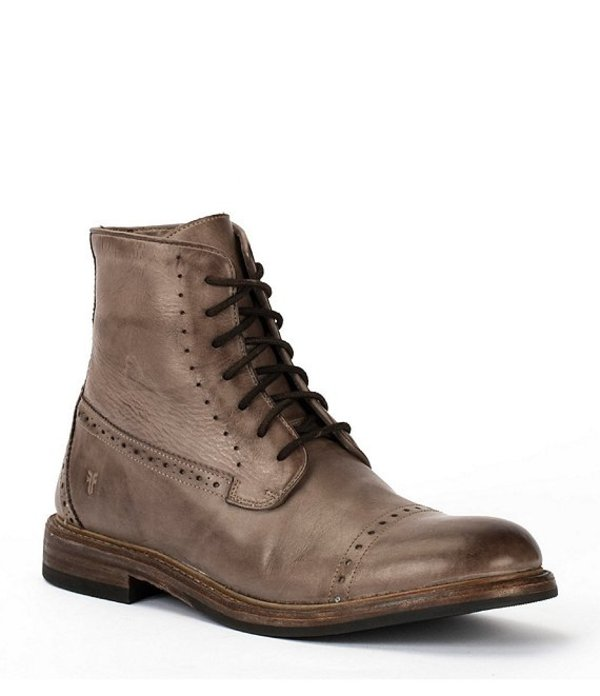 フライ メンズ ブーツ・レインブーツ シューズ Men's Murray Laser Perforated Leather Lace-Up Boot Grey