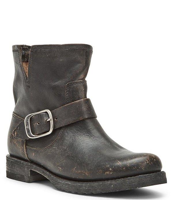 フライ レディース ブーツ・レインブーツ シューズ Veronica Leather Block Buckle Heel Booties Black