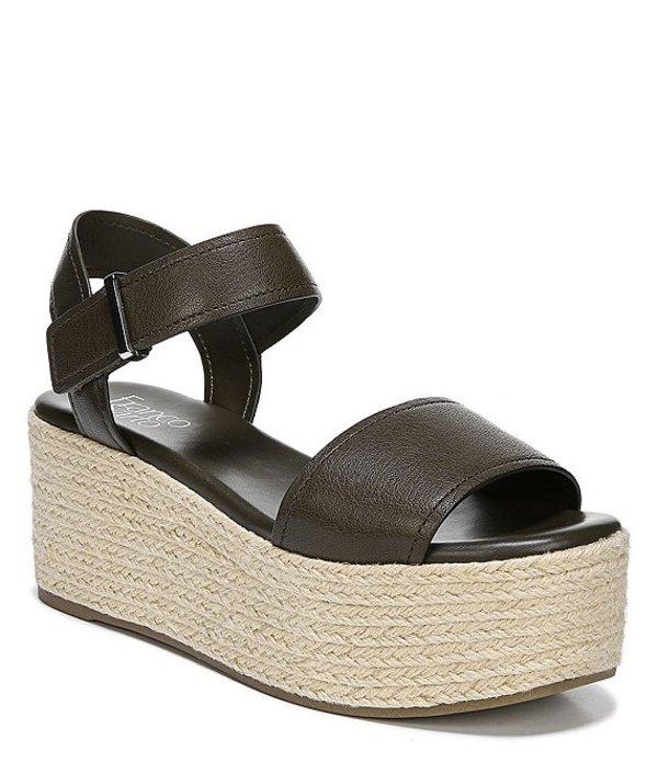 フランコサルト レディース スリッポン・ローファー シューズ Ben Leather Flatform Espadrille Sandals Olive