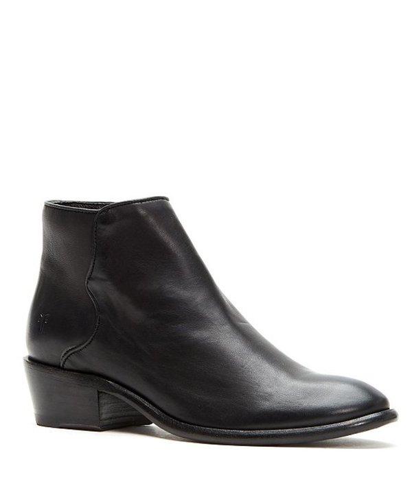 フライ レディース ブーツ・レインブーツ シューズ Carson Leather Piping Block Heel Booties Black
