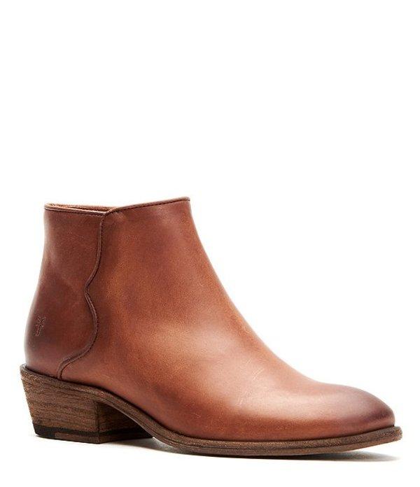 フライ レディース ブーツ・レインブーツ シューズ Carson Leather Piping Block Heel Booties Cognac