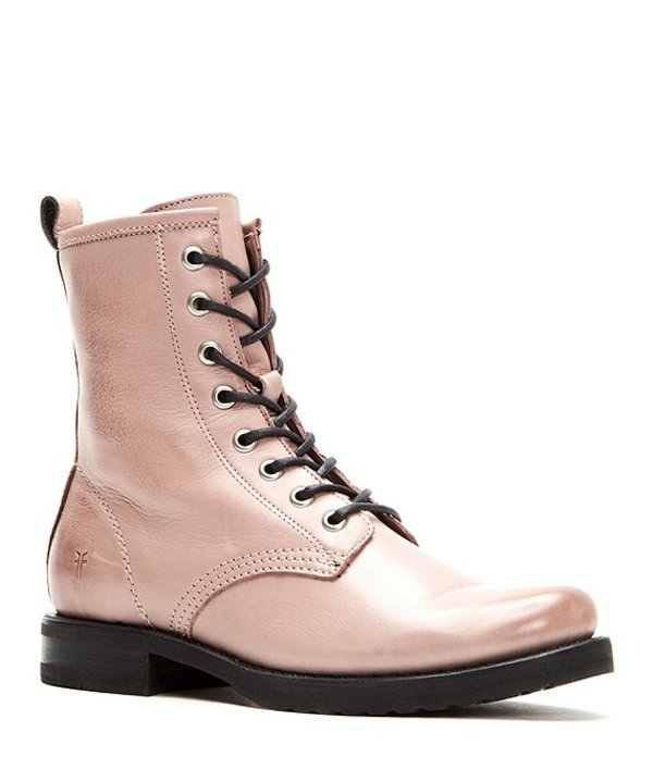 フライ レディース ブーツ・レインブーツ シューズ Veronica Leather Combat Block Heel Booties Lilac