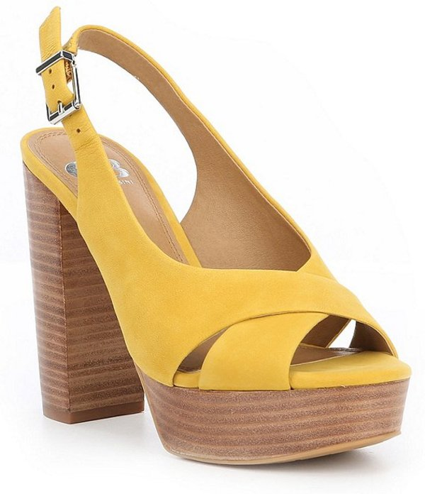 ジービー レディース サンダル シューズ Hi-Class Nubuck Leather Wood-Platform Block Heel Sandals Malibu Mustard