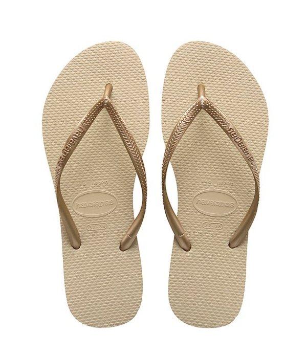 ハワイアナス レディース サンダル シューズ Slim Metallic Flip-Flops Sand Grey