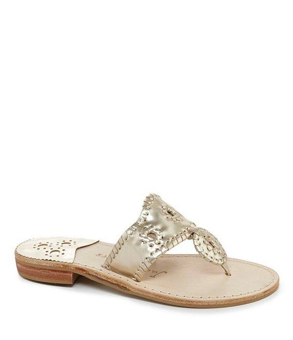 ジャックロジャース レディース サンダル シューズ Hamptons Metallic Leather Whipstitched Sandals Platinum