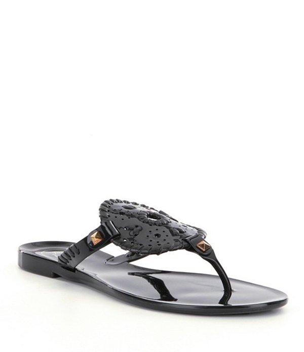 ジャックロジャース レディース サンダル シューズ Georgica Studded Whipstitched Slip On Jelly Sandals Black