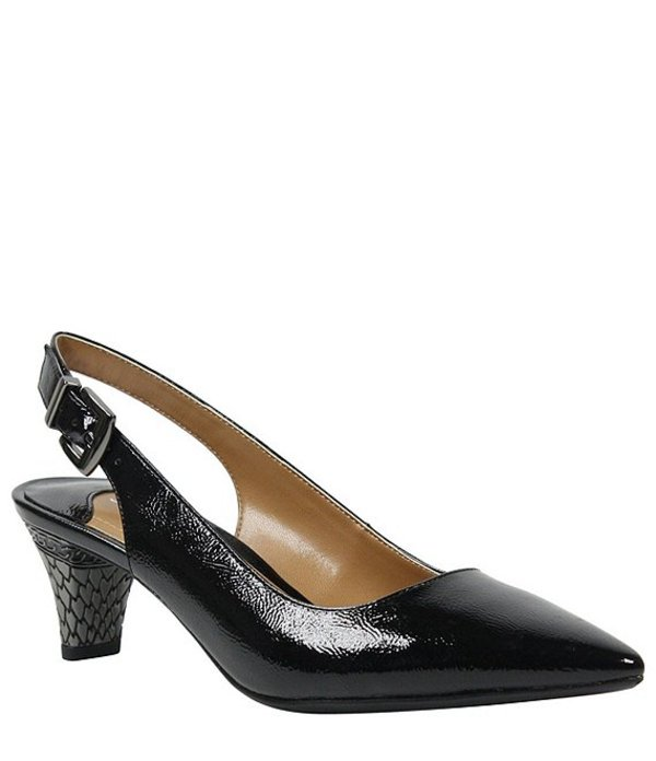 ジェイレニー レディース ヒール シューズ Mayetta Slingback Pearlized Patent Dress Pumps Black