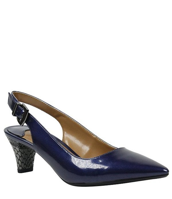 ジェイレニー レディース ヒール シューズ Mayetta Slingback Pearlized Patent Dress Pumps Navy