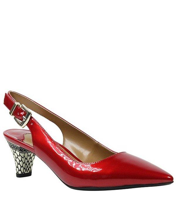 ジェイレニー レディース ヒール シューズ Mayetta Slingback Pearlized Patent Dress Pumps Red