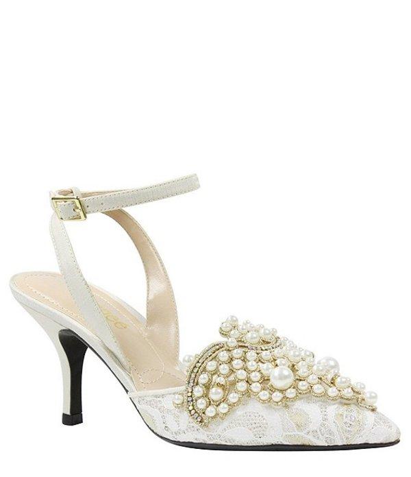 ジェイレニー レディース パンプス シューズ Desdemona Floral Pearl Ornament Ankle Strap Pumps Ivory/White