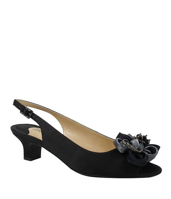 ジェイレニー レディース パンプス シューズ Leonelle Embellished Bow Slingback Peep Toe Pumps Black