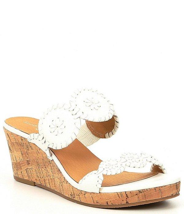 ジャックロジャース レディース サンダル シューズ Lauren Leather & Cork Wedge Sandals White
