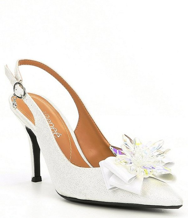 ジェイレニー レディース ヒール シューズ Denyell Metallic Linen Crystal Ornament Sling Pumps White/Silver