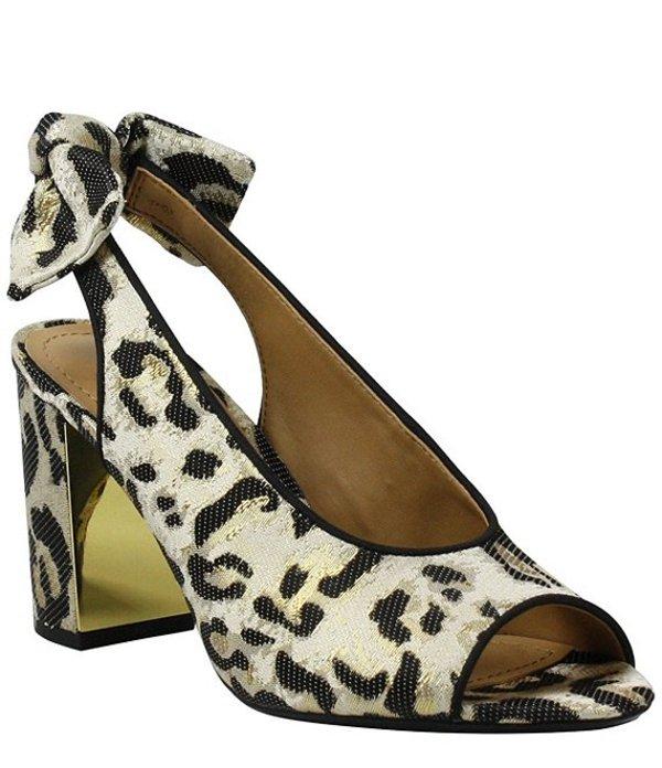 ジェイレニー レディース ヒール シューズ Brietta Animal Print Peep Toe Bow Sling Pumps Black/Brown