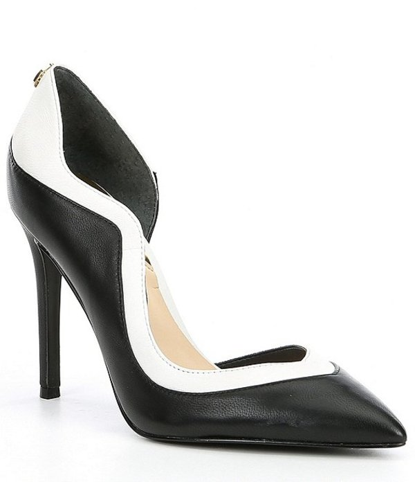 ゲス レディース ヒール シューズ Cassia Leather d'Orsay Colorblock Pumps Black/White
