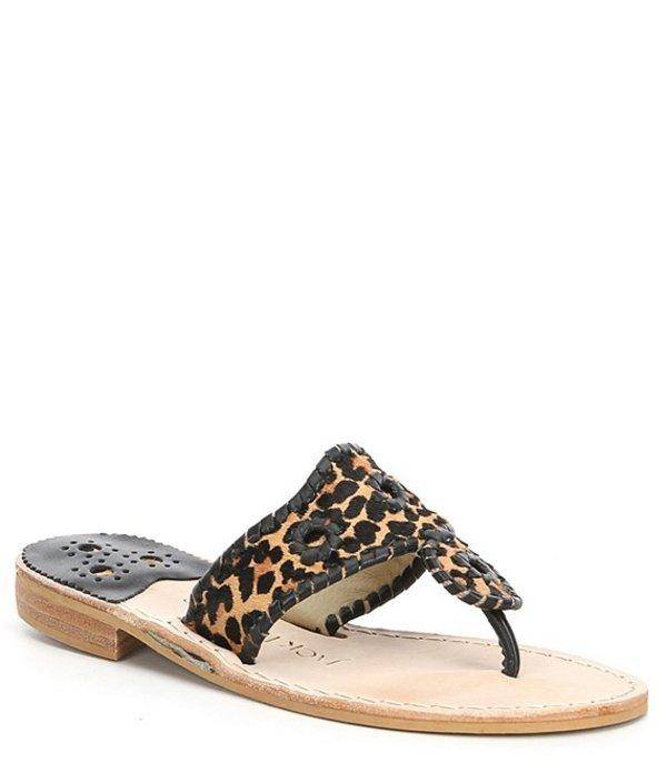ジャックロジャース レディース サンダル シューズ Jacks Leopard Print Calf Hair Flat Thong Sandals Leopard Print