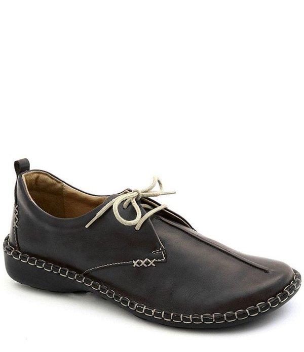 ジョセフセイベル レディース スリッポン・ローファー シューズ Lindsay Leather Stitch Detail Lace Up Block Heel Loafers Black