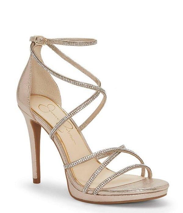 ジェシカシンプソン レディース サンダル シューズ Jaeya Rhinestone Strappy Dress Sandals Gold