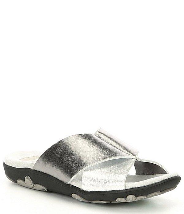 ジャンブー レディース サンダル シューズ Bloom Metallic Leather Slides Silver Gun