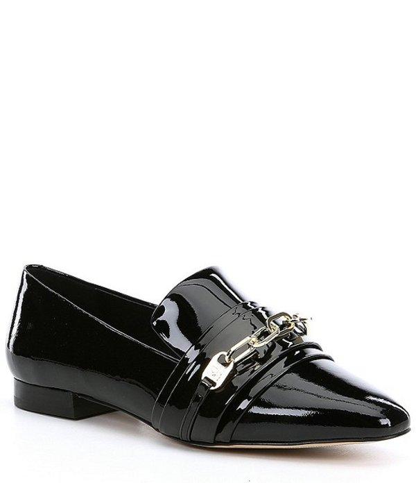 カール ラガーフェルド レディース スリッポン・ローファー シューズ Nikki Patent Leather Block Heel Loafers Black