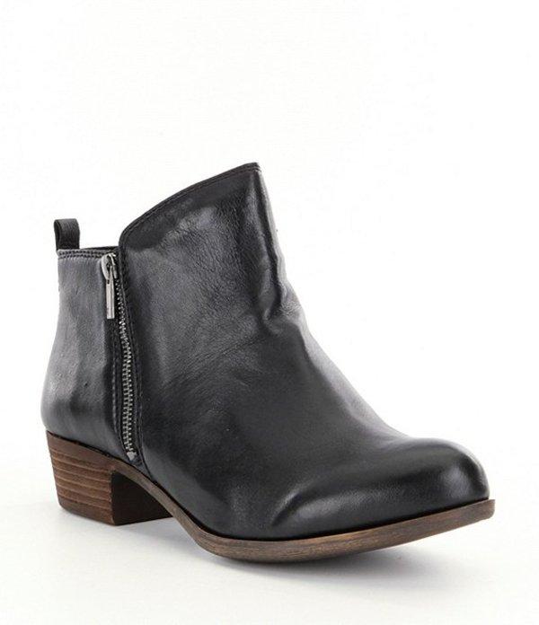 ラッキーブランド レディース ブーツ・レインブーツ シューズ Basel Smooth Leather Zip Block Heel Booties Black