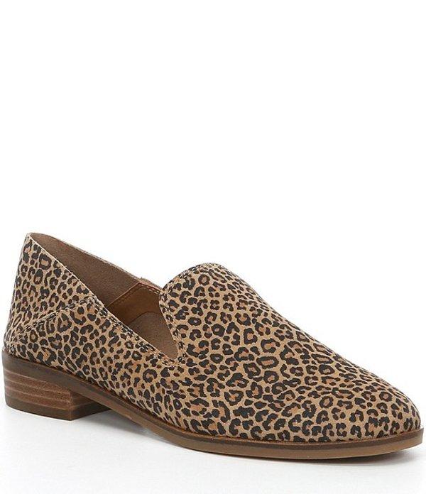 ラッキーブランド レディース スリッポン・ローファー シューズ Cahill Leopard Print Block Heel Flats Eyelash Leopard