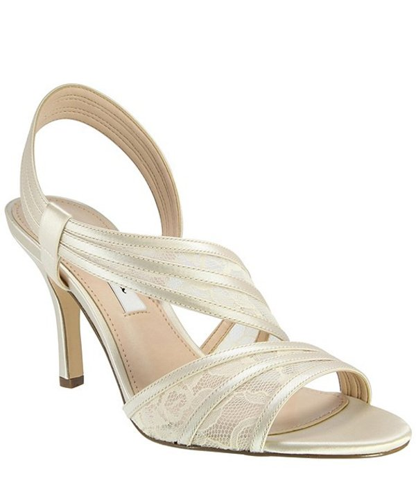 ニナ レディース サンダル シューズ Vitalia Satin & Lace Banded Slip-On Dress Sandals Ivory