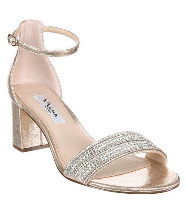 ニナ レディース サンダル シューズ Elenora Rhinestone Embellished Suede Ankle Strap Block Heel Dress Sandals Taupe