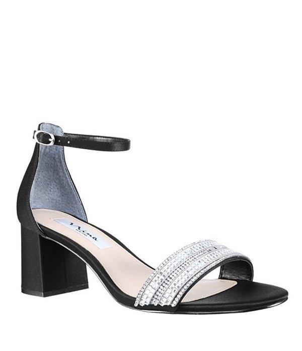 ニナ レディース サンダル シューズ Elenora Rhinestone-Embellished Satin Ankle Strap Block Heel Dress Sandals Black