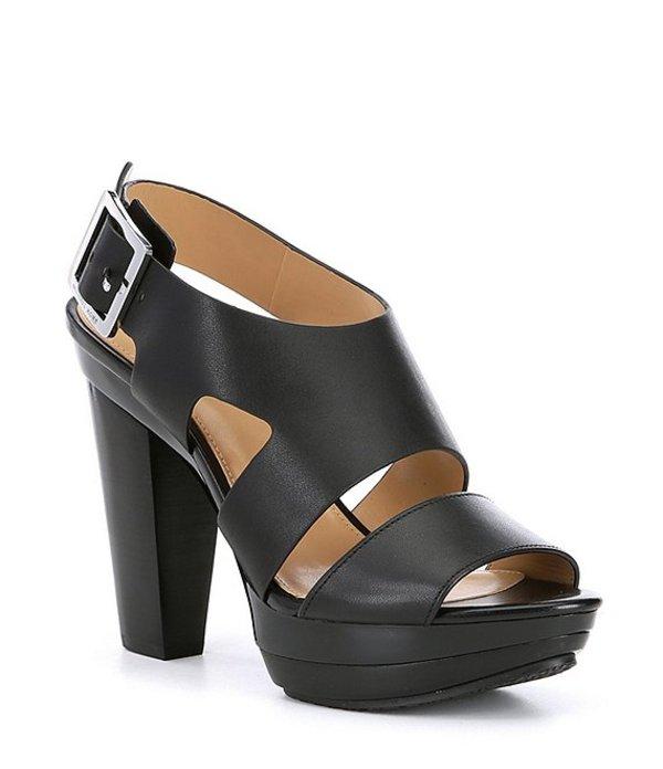マイケルコース レディース サンダル シューズ Carla Leather Platform Block Heel Sandals Black