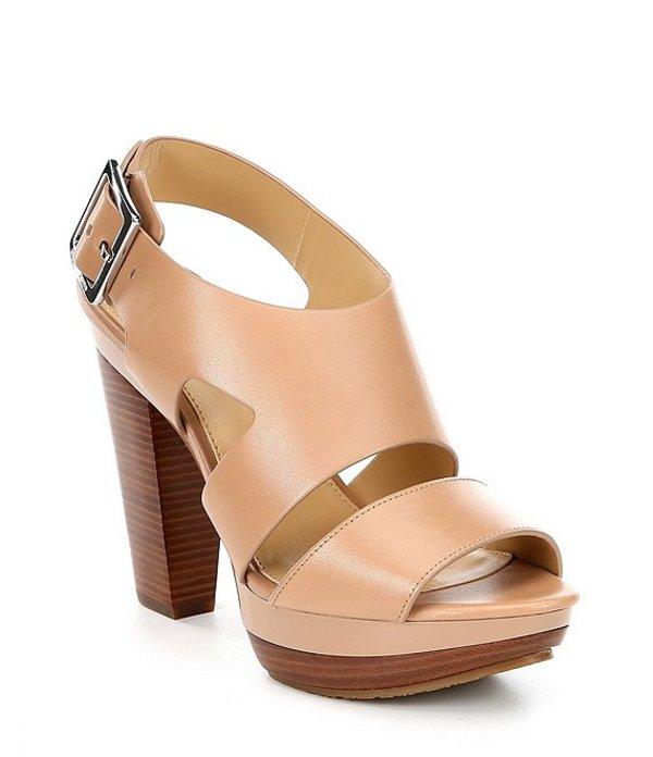マイケルコース レディース サンダル シューズ Carla Leather Platform Block Heel Sandals Taupe