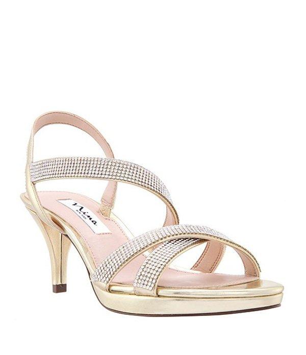 ニナ レディース サンダル シューズ Nizana Jeweled Strappy Metallic Dress Sandals Platino
