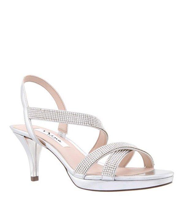 ニナ レディース サンダル シューズ Nizana Jeweled Strappy Metallic Dress Sandals Silver