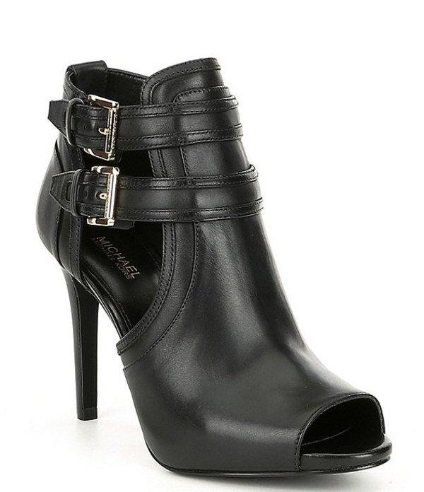 マイケルコース レディース ブーツ・レインブーツ シューズ Blaze Leather Peep Toe Buckle Detail Booties Black