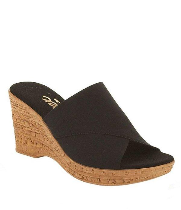 オネックス レディース サンダル シューズ Christina Elastic Banded Cork Wedge Sandals Black