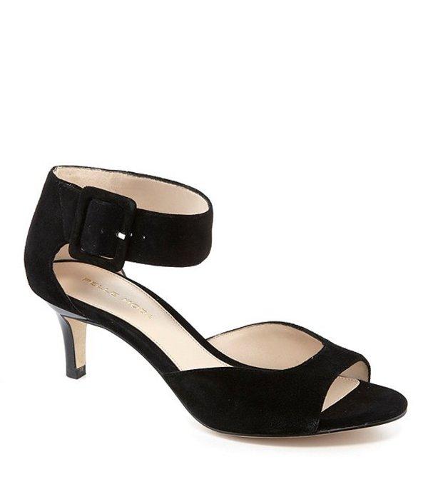 ペレモーダ レディース サンダル シューズ Berlin Peep-Toe Kitten-Heel Suede Ankle Strap Dress Sandals Black