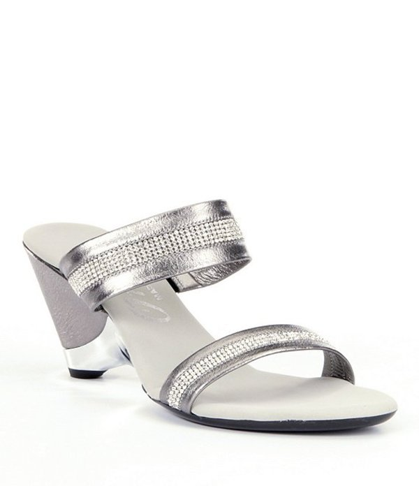 オネックス レディース サンダル シューズ Stunning Jeweled Metallic Leather Wedge Dress Sandals Pewter