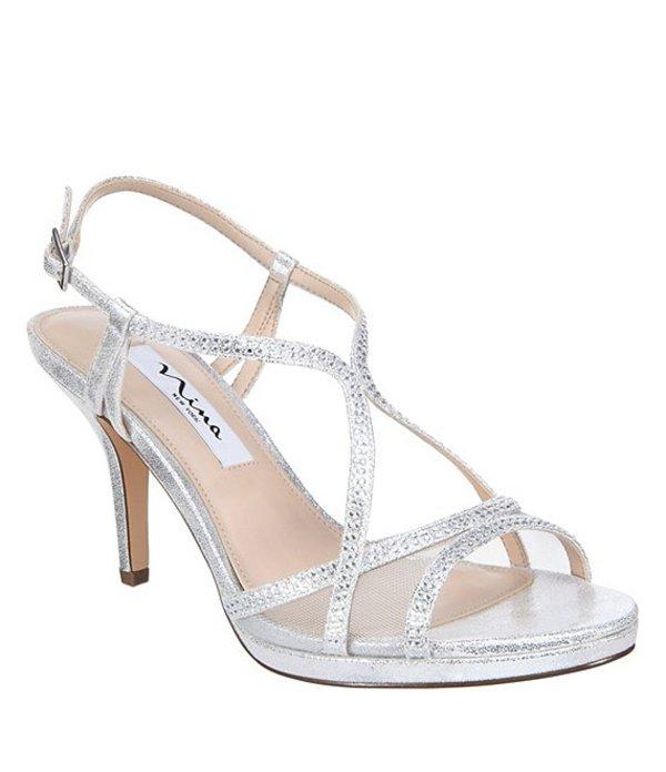 ニナ レディース サンダル シューズ Blossom Rhinestone Detail Metallic Suede Dress Sandals Silver