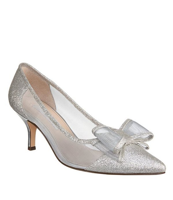 ニナ レディース ヒール シューズ Bianca Glitter and Mesh Bow Detail Pumps White Diamomd