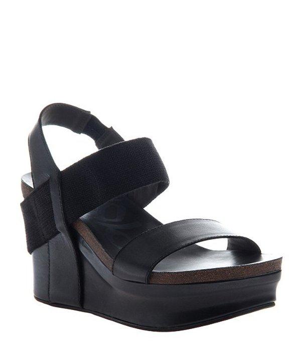 オーティービーティー レディース サンダル シューズ Bushnell Leather Platform Wedges Black