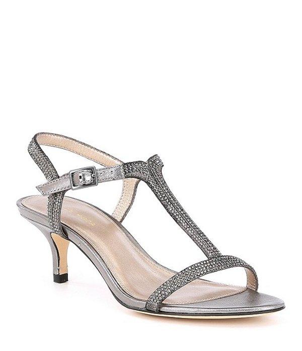 ペレモーダ レディース サンダル シューズ Fable Rhinestone Jeweled Metallic Suede Dress Sandals Pewter