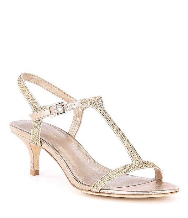 ペレモーダ レディース サンダル シューズ Fable Rhinestone Jeweled Metallic Suede Dress Sandals Platinum Gold