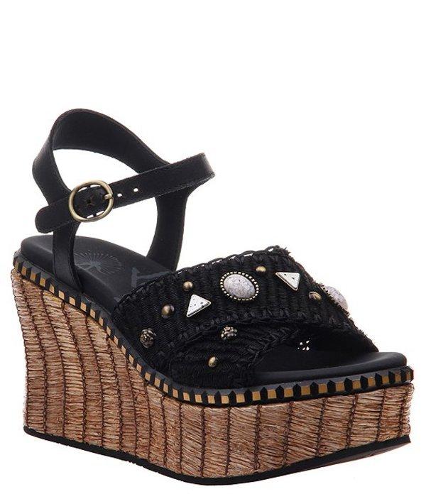 オーティービーティー レディース サンダル シューズ Cahoot Leather Platform Wedge Sandals Black