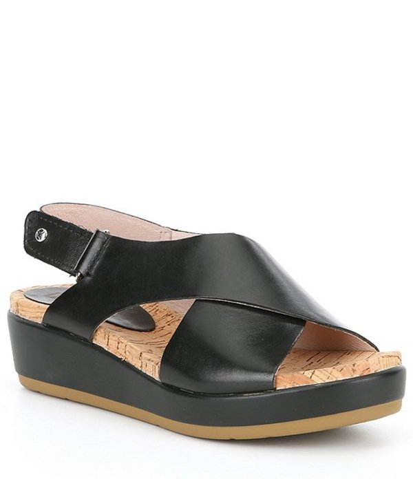 ピコリーノス レディース サンダル シューズ Mykonos W1g Leather Sandals Black