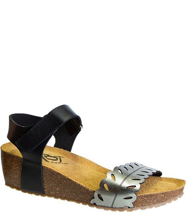 オーティービーティー レディース サンダル シューズ Forever Tamson Leather Cork Wedge Sandals Steel