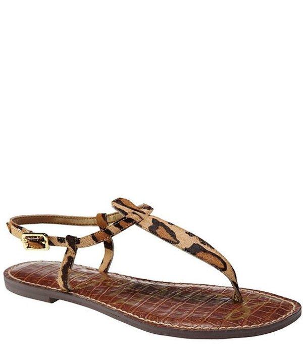 サムエデルマン レディース サンダル シューズ Gigi Leopard-Print Calf Hair T-Strap Sandals Leopard/Multi