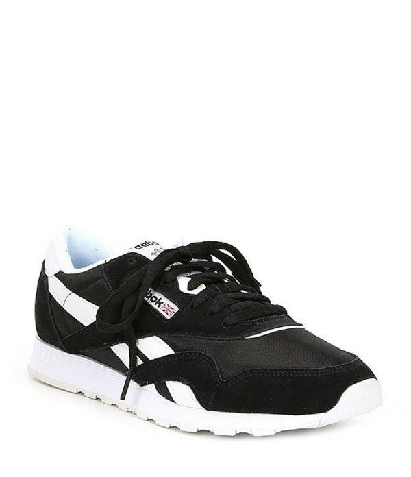 リーボック メンズ スニーカー シューズ Men's Classic Nylon Sneaker Black/White